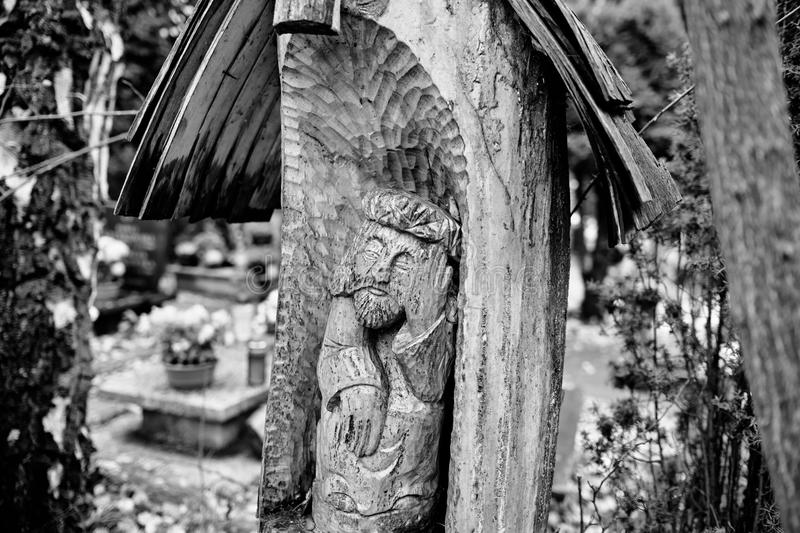 Catholic religious symbols. Catholic religious symbols on the Catholic cemeteries in Poland. Artistic look in black and white stock image