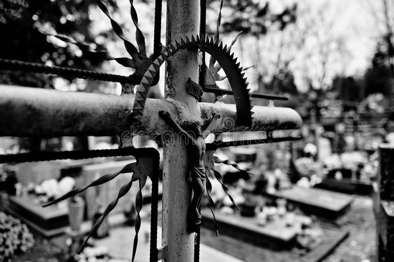 Catholic religious symbols. Catholic religious symbols on the Catholic cemeteries in Poland. Artistic look in black and white stock images