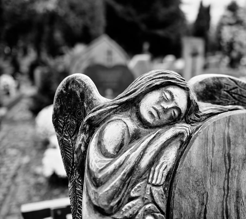 Catholic religious symbols. Catholic religious symbols on the Catholic cemeteries in Poland. Artistic look in black and white stock photography