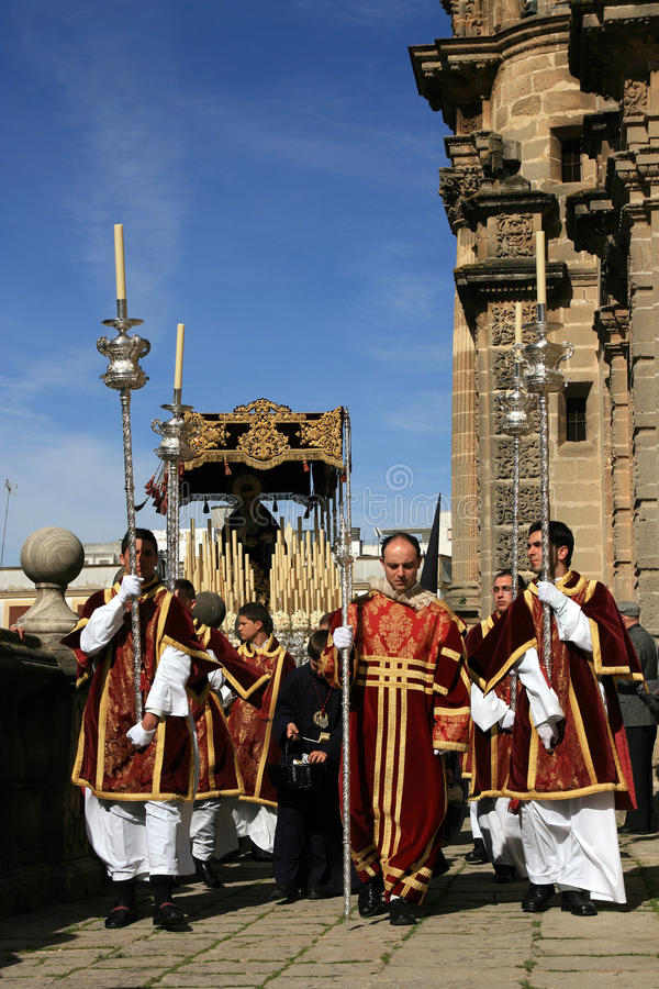 Catholic Spain, priests at Easter procession stock photos