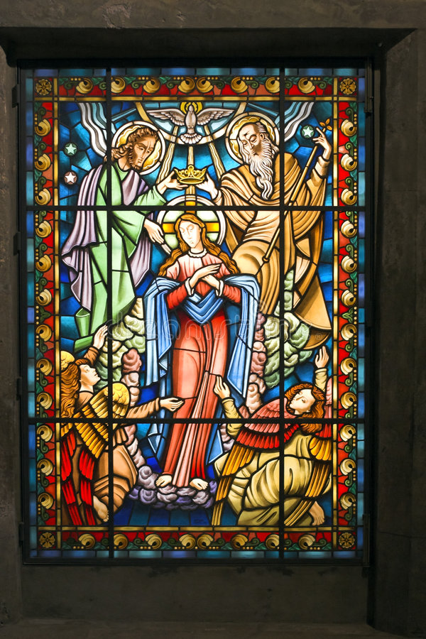 Catholic stained glass window 2. Catholic stained glass window from a church of the north of Portugal stock images
