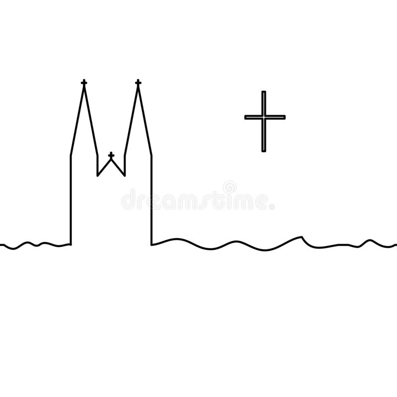 Catholic temple and cross. One line drawing. Vector royalty free illustration