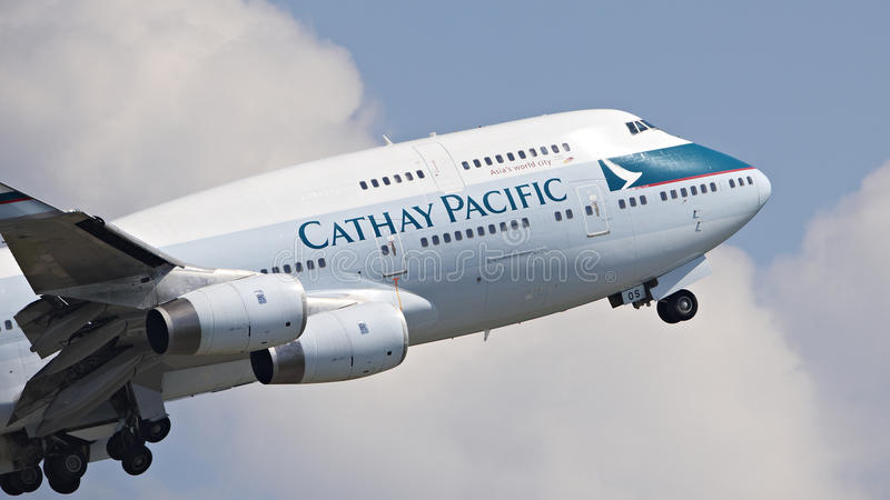 Cathy Pacific Passenger Aircraft Editorial Stock Photo