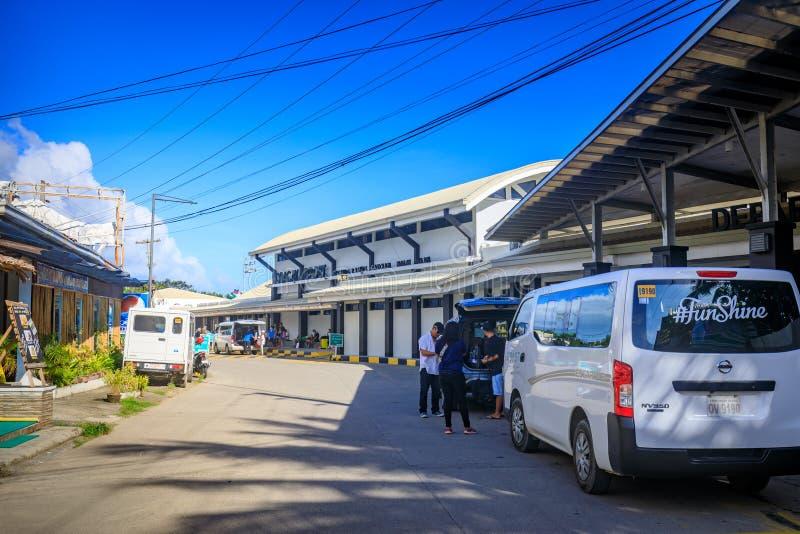 Caticlanluchthaven dichtbij Boracay-Eiland in de Filippijnen stock foto's