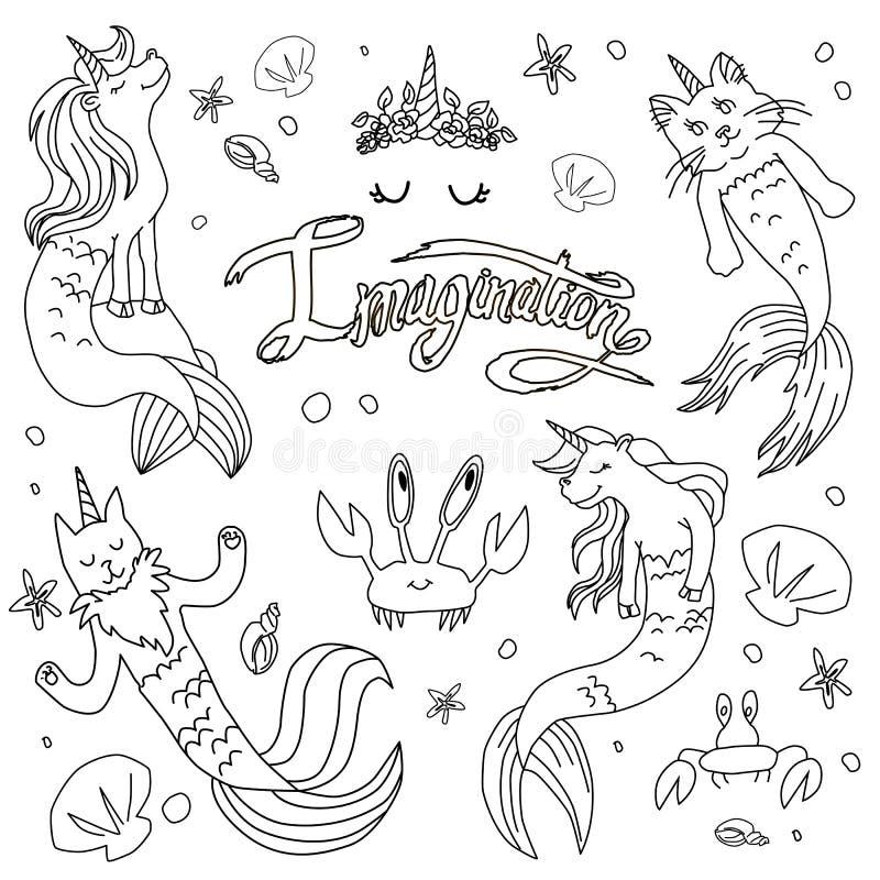 Mermaid Unicorn Coloring Page Stock Illustrations – 17 ...
