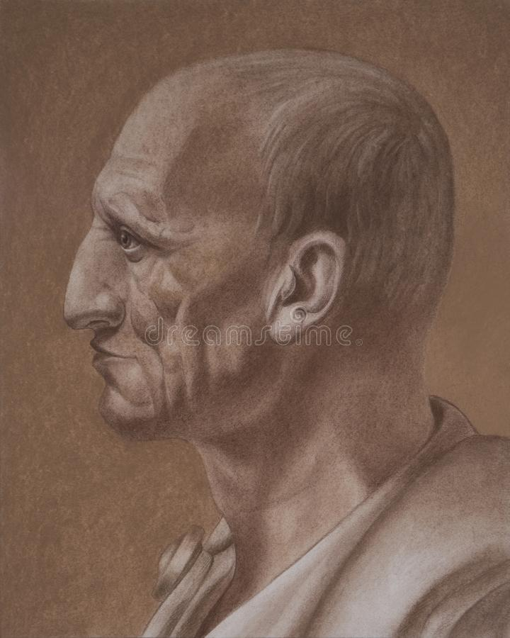 Cato the Elder, born Marcus Porcius Cato. Also known as Cato the Censor. Hand drawing portrait by pastel in brown color royalty free illustration
