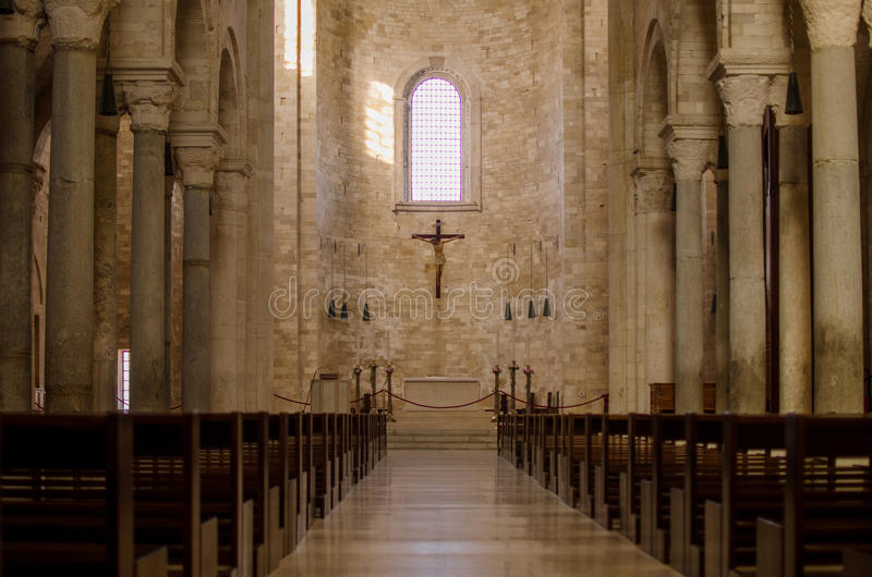 Catolic italian church. Inside view.  stock photos