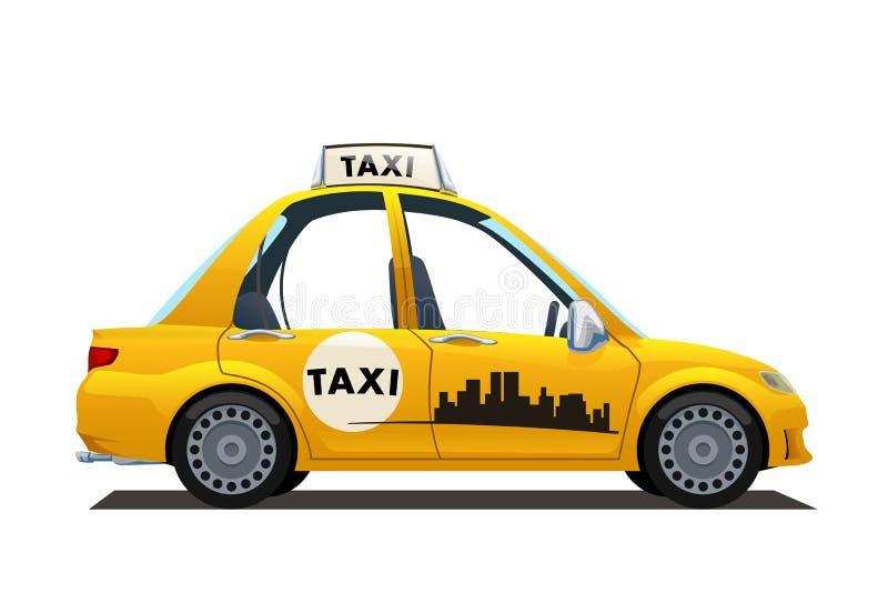Catoon gele taxi royalty-vrije illustratie