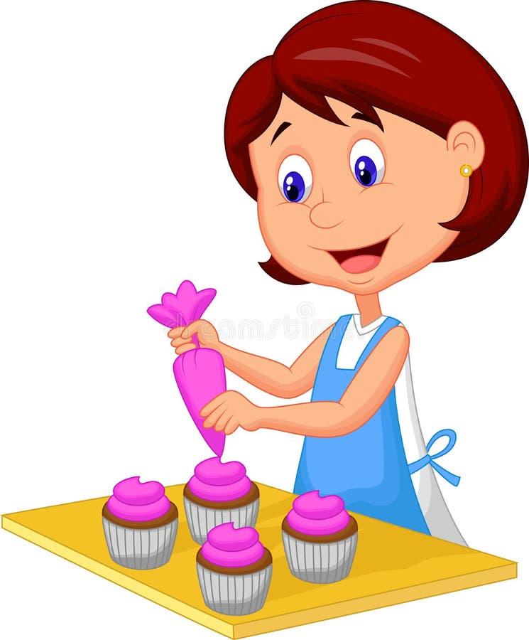 Catoon kvinna med förklädet som dekorerar muffin stock illustrationer