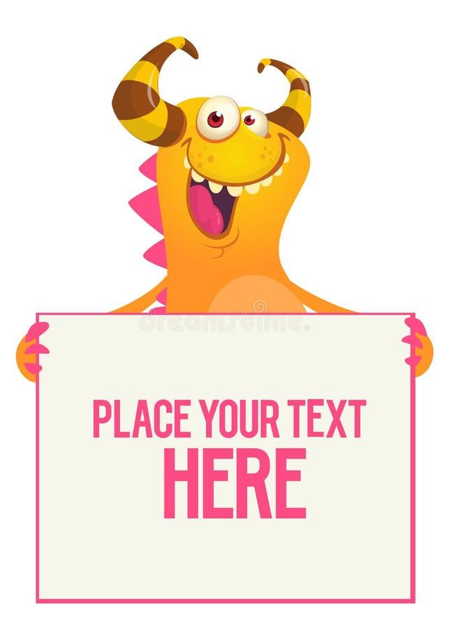 Catoon potwór trzyma czerń znaka z próbki wiadomością na nim ilustracji