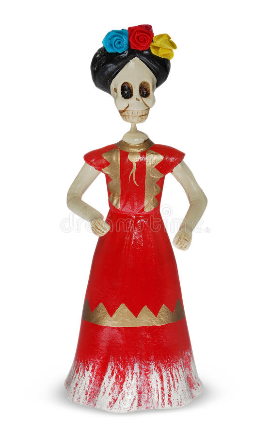 Catrina. Handmade skull. Traditional Catrina sculpture for Day of Death celebration stock photo
