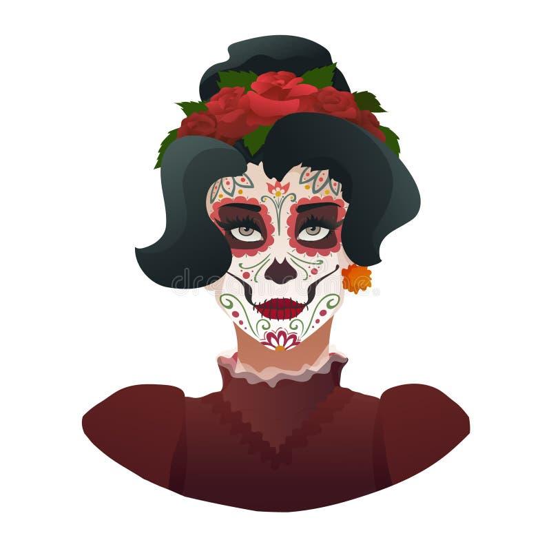 Catrina, día del símbolo muerto de México stock de ilustración