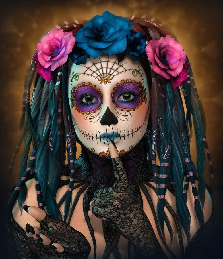 Catrina Girl, 3d CG stock illustration. Illustration of mask ...