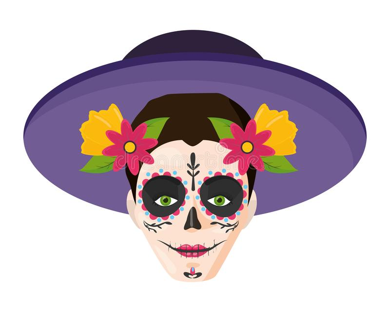 Catrina with hat mexican culture. Vector illustration royalty free illustration