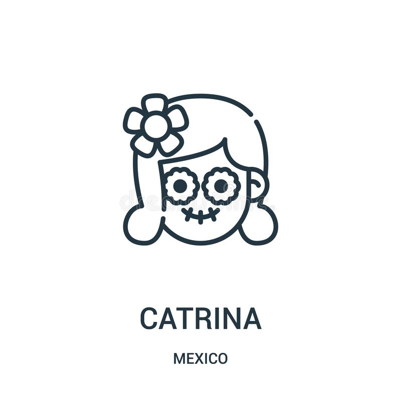 catrina icon vector from mexico collection. Thin line catrina outline icon vector illustration vector illustration