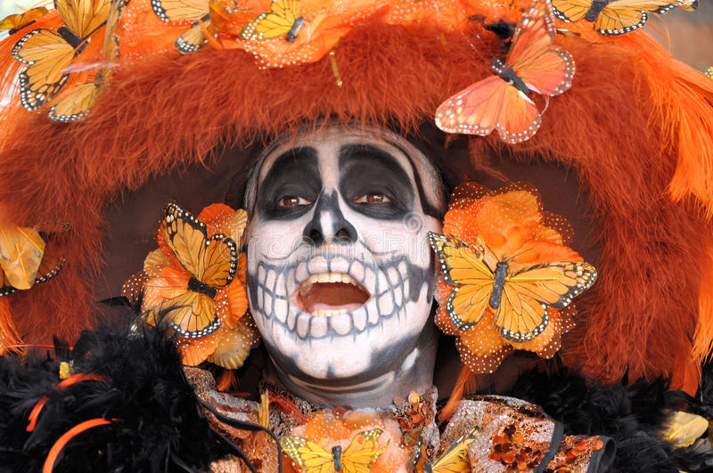 Catrina. Image of a Mexican Catrina celebrating the day of the dead (Halloween) representing Monarch Butterfly royalty free stock photos
