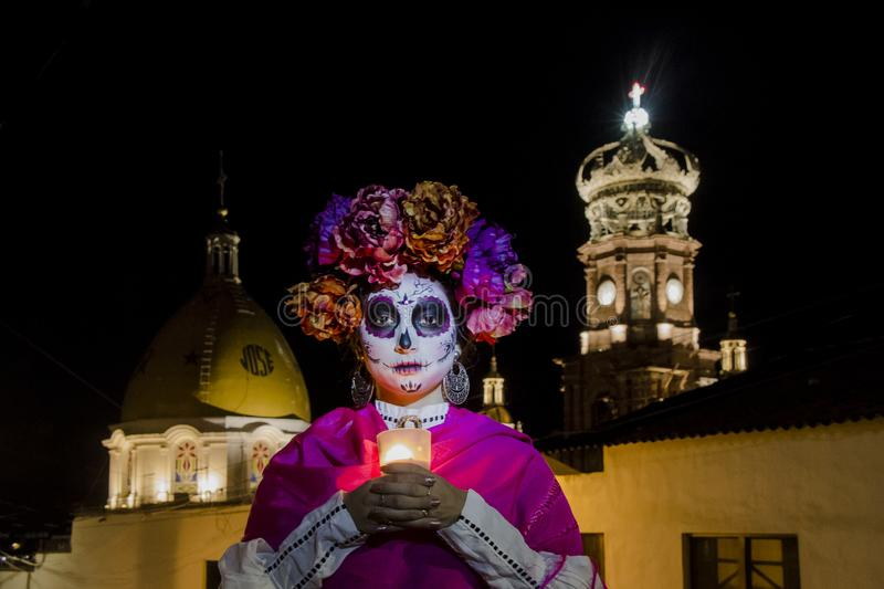 Catrina in a Mexican Town for the day of the dead royalty free stock photos