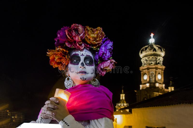 Catrina in a Mexican Town for the day of the dead royalty free stock photo