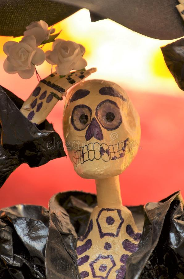 Catrina Portrait. The Catrina is a typical and popular Mexican symbol. Shows the relation that this people has with death and it is becoming in a Mexican image royalty free stock images