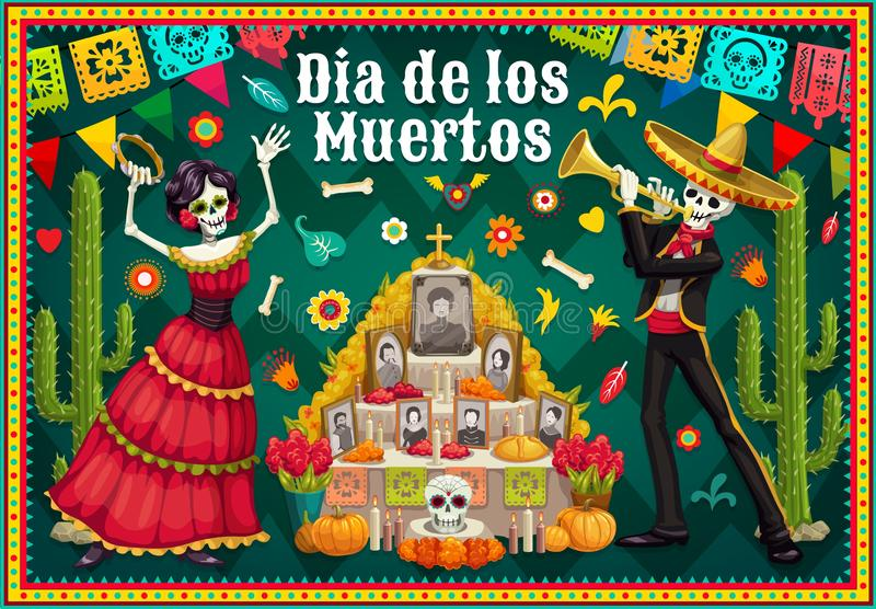 Catrina and skeleton near Day of the Dead altar. Dia de los Muertos altar and dancing skeletons vector design of Mexican Day of the Dead. Catrina and mariachi royalty free illustration