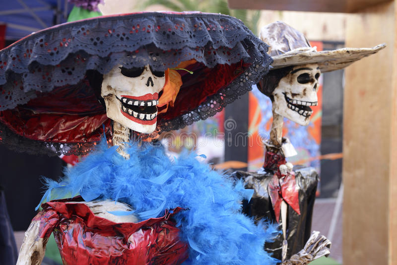 Catrina skeletons. On display during Día los Muertos stock photos