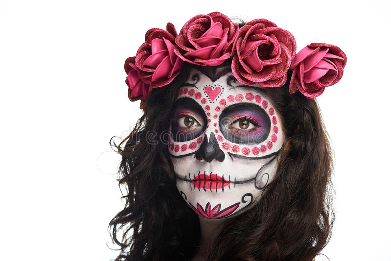 Catrina skull face. Close up of catrina skull face isolated on white background stock photography
