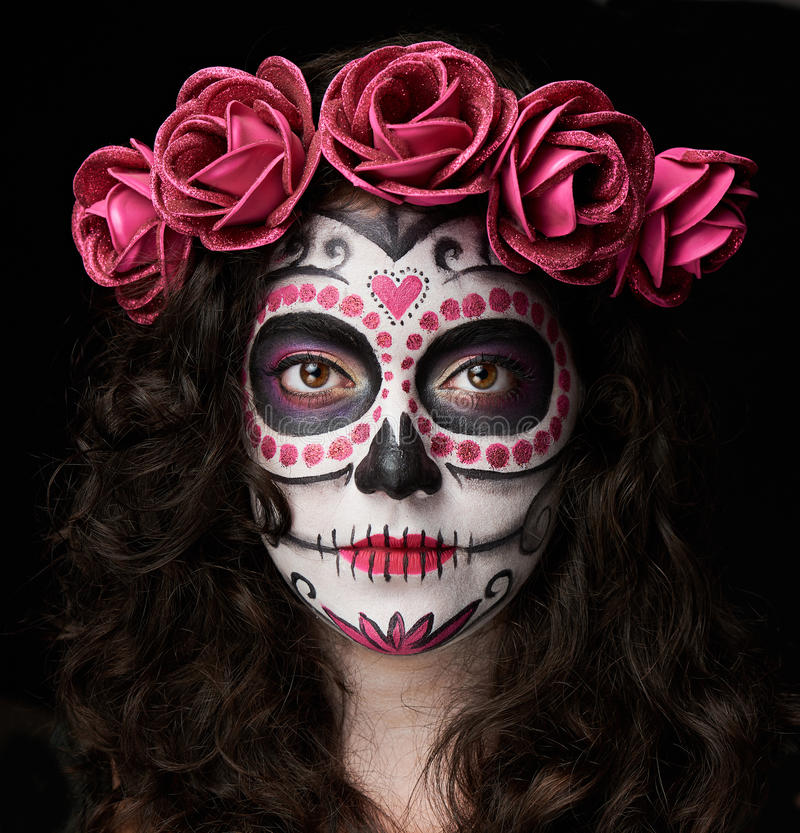 Catrina skull portrait. Isolated on black background stock photography
