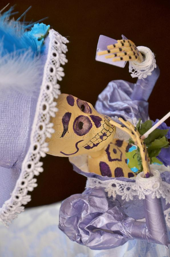 Catrina Portrait. The Catrina is a typical and popular Mexican symbol. Shows the relation that this people has with death and it is becoming in a Mexican image royalty free stock photos