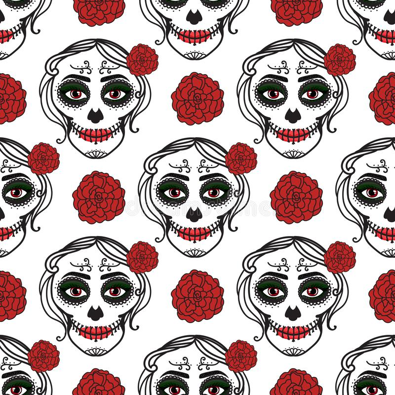 Catrina woman with make up of sugar skull. Seamless pattern. Dia de los muertos. Mexican Day of the dead. Vector. Illustration hand drawing isolated on white royalty free illustration