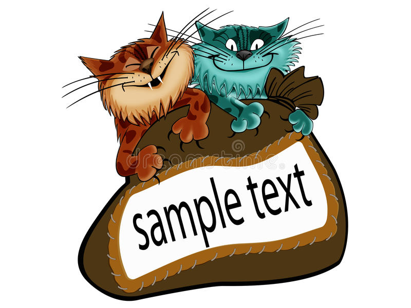 Cats. The image of cats who dug into the bag in which there is room for text stock illustration