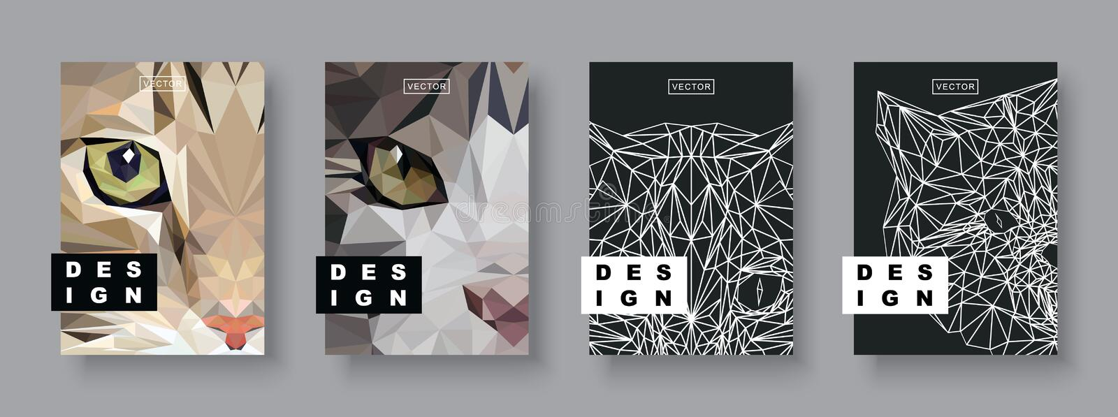 Cats abstract covers set. Future Poster template. Concept geometric pet animal. Polygonal halftone. Cat face silhouette. Cats abstract covers set. Futuristic royalty free illustration