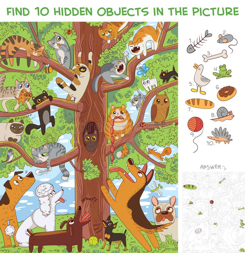 Free Cats Are Sitting On A Tree. Find 10 Hidden Objects Royalty Free Stock Photography - 188906397