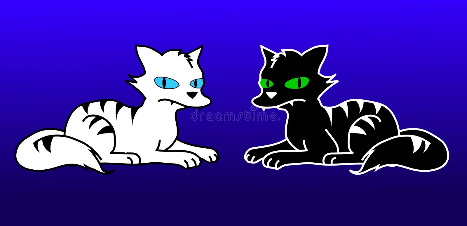 Cats. A black and white cats vector illustration