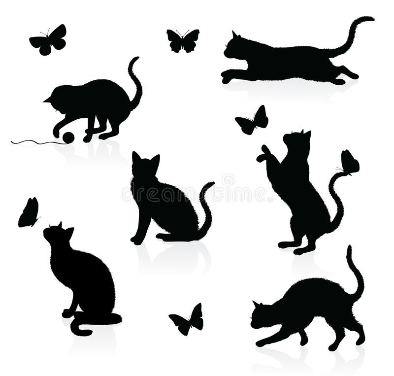 Cats and butterflies. stock illustration