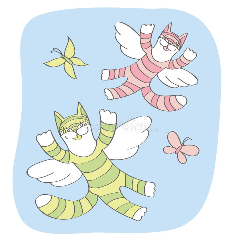Cats and butterflies fly in the sky royalty free stock photography