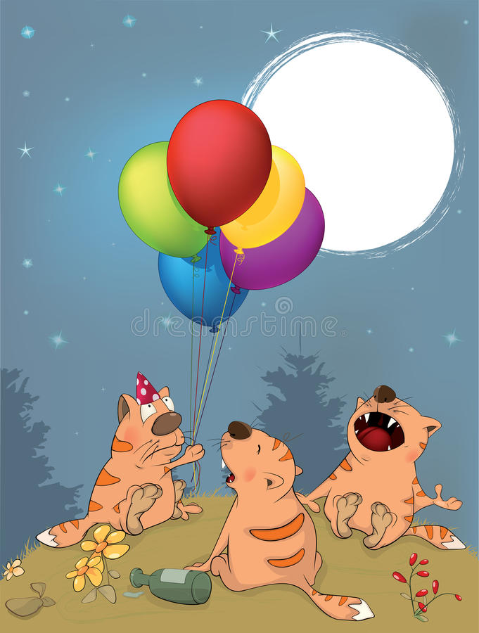 Cats celebrates birthday cartoon royalty free illustration