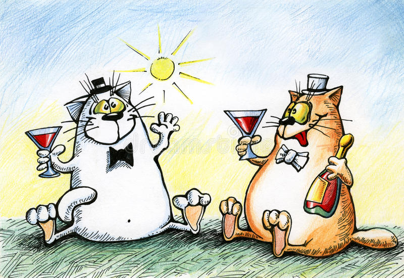 Cats are celebrating with alcohol. Two cats are celebrating with alcohol stock illustration