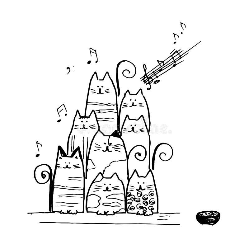 Chorus of singing cats idea design. Chorus of singing cats idea stock illustration