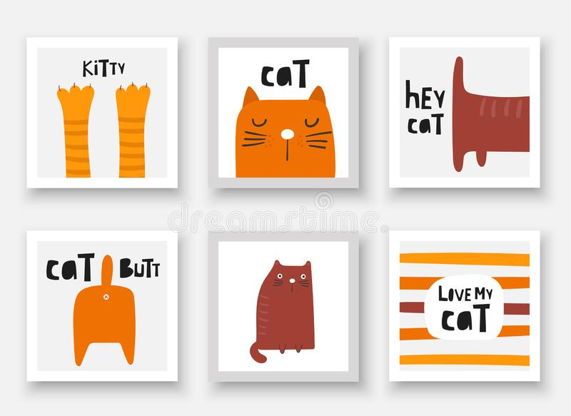 Cats collections. Cards, postcards, tags with kittens, paws, butt, tail, face, abstract elements. royalty free illustration