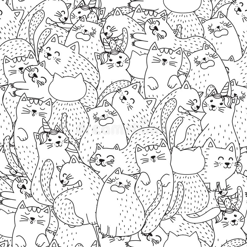 Funny cats black and white seamless pattern vector illustration