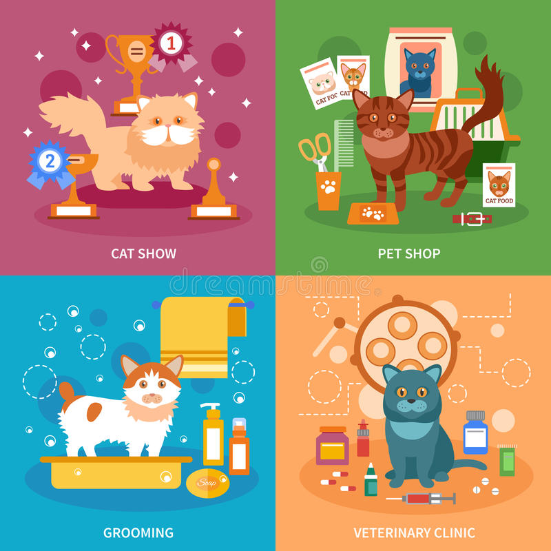 Cats concept set. Cats design concept set with pet grooming and veterinary clinic flat icons isolated vector illustration stock illustration