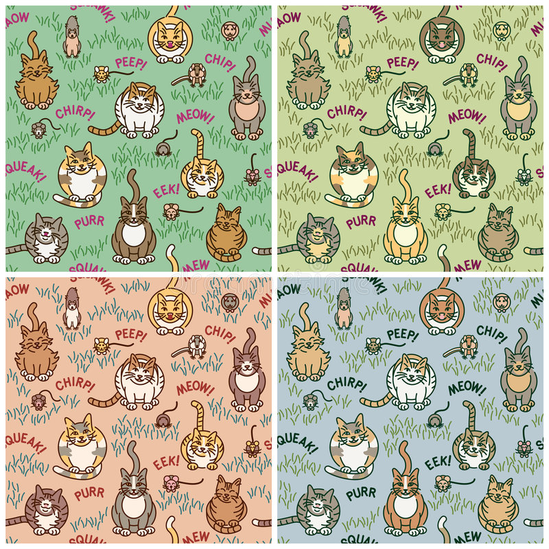 Cats and Critters. Cute cats and critters seamless pattern in four colorways. Font used is my own creation. Repeat size is 8 vector illustration