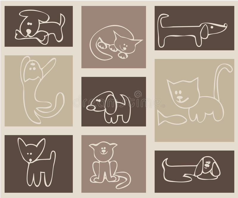 Download Cats and dogs. stock vector. Image of background, animals - 13784785