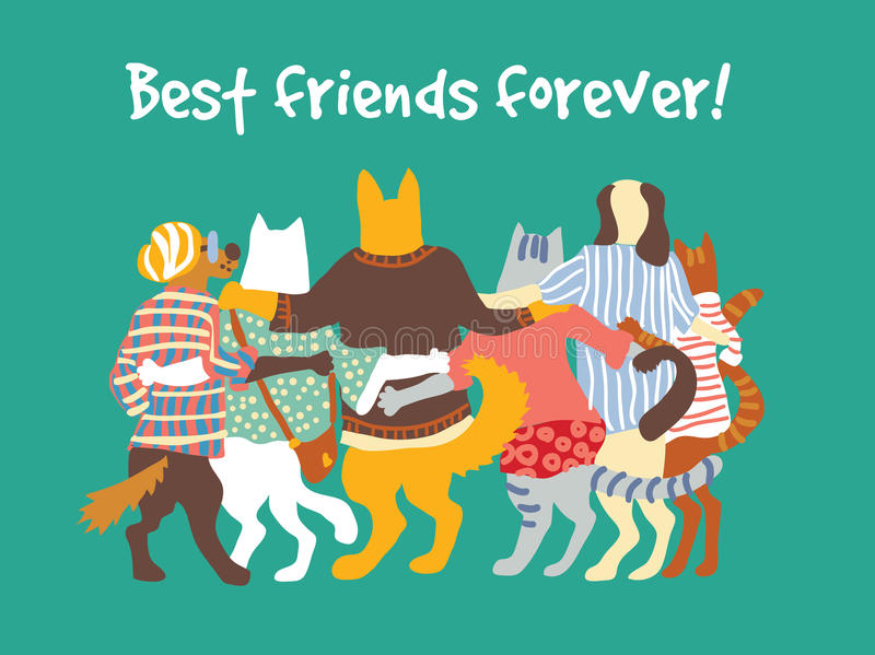 Cats and dogs pets group animal friends friendship hugs. stock illustration