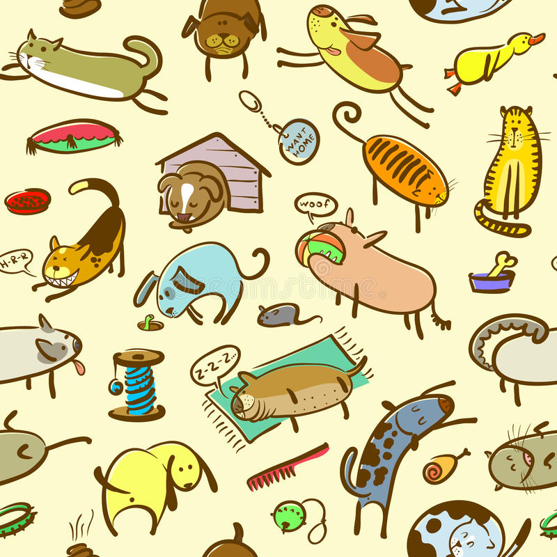 Cats and dogs seamless stock illustration