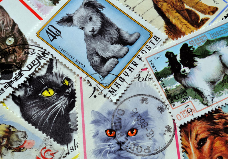 Cats and dogs on stamps. Cats and dogs on postage stamps stock photo