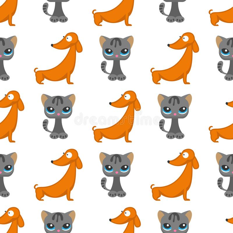 Cats dogs vector illustration cute animal funny seamless pattern background characters feline domestic trendy pet royalty free illustration