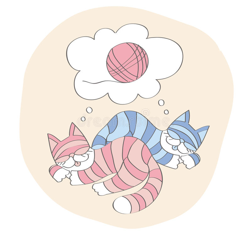 Cats dream about game with a ball stock image