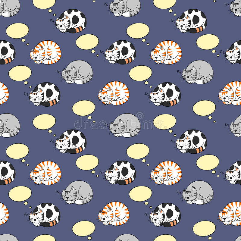 Free Cats Dreaming Seamless Pattern Stock Images - 45268924