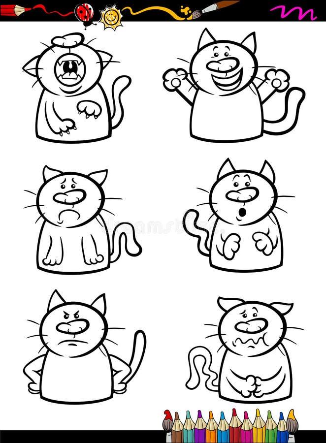Cats Emotion Set Cartoon Coloring Book Stock Vector